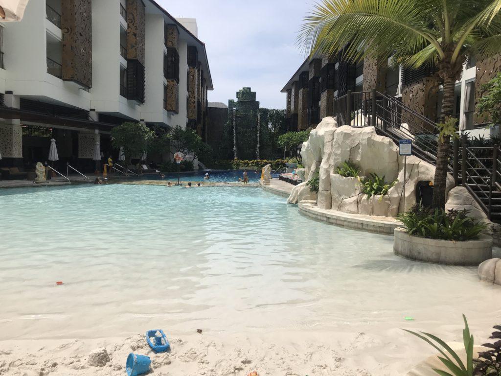 Man made sand beach at the Trans Hotel Bali