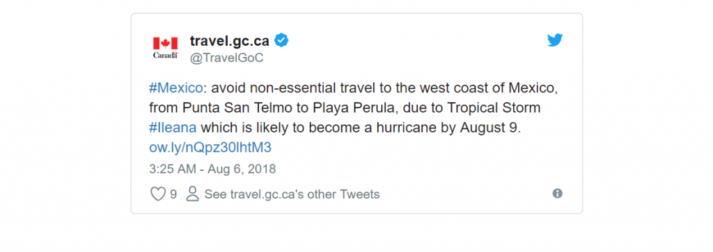 Mexico Travel Advisory - Tropical Storm Ileana