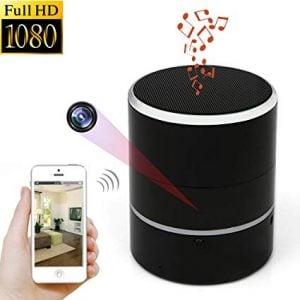 Bluetooth portable speaker with hidden camera