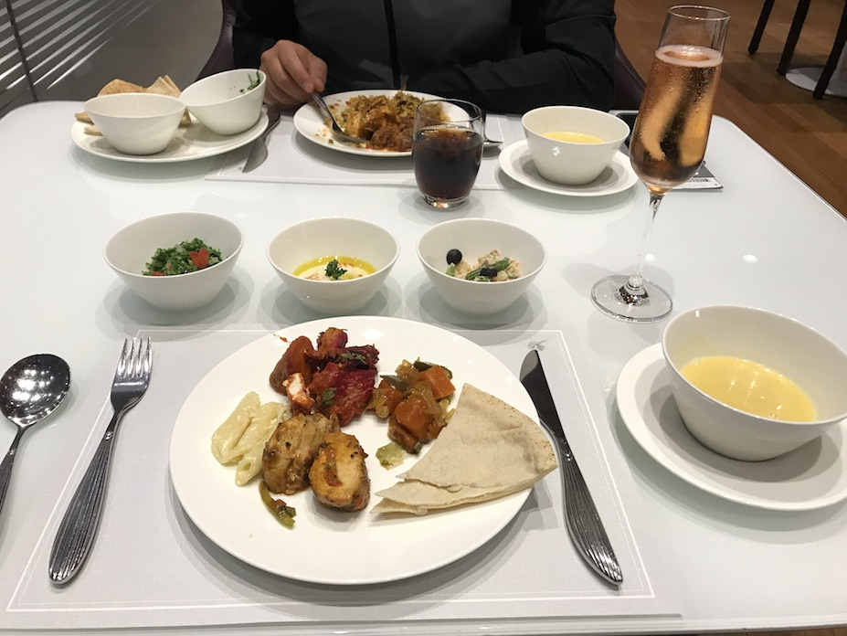 Kashlee's meal at Qatar business class lounge in Doha airport