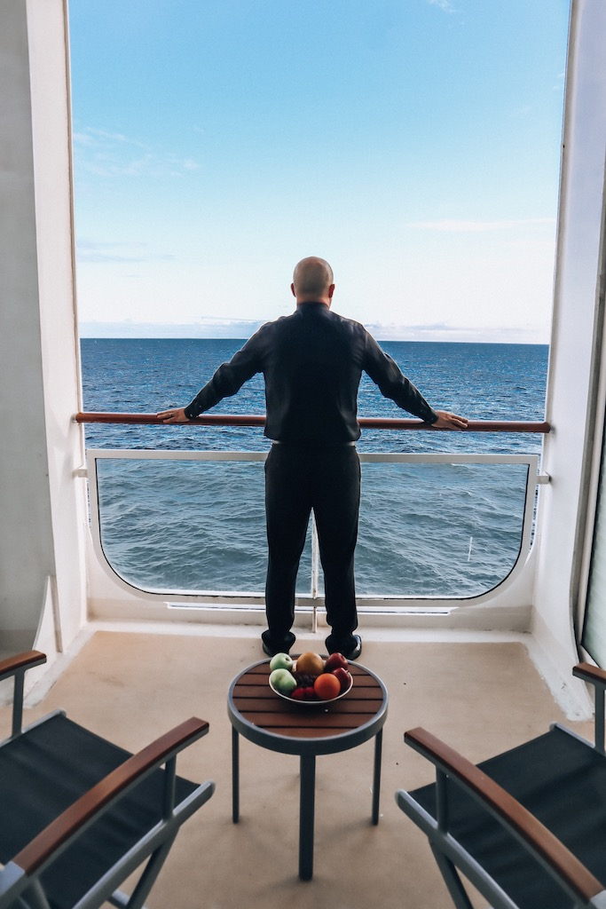 Trevor Kucheran and his view from the balcony room on Celebrity Millennium