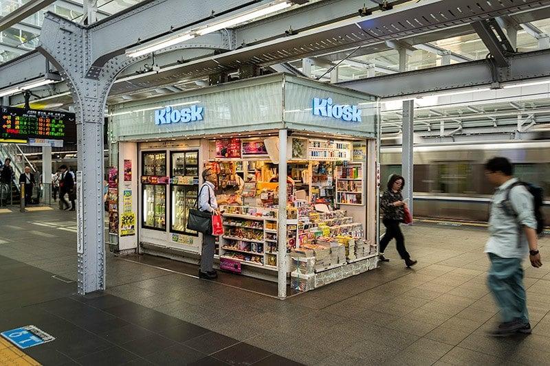 Shinkansen train station in Japan food kiosk