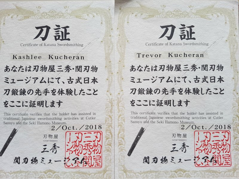 sword forging certificates