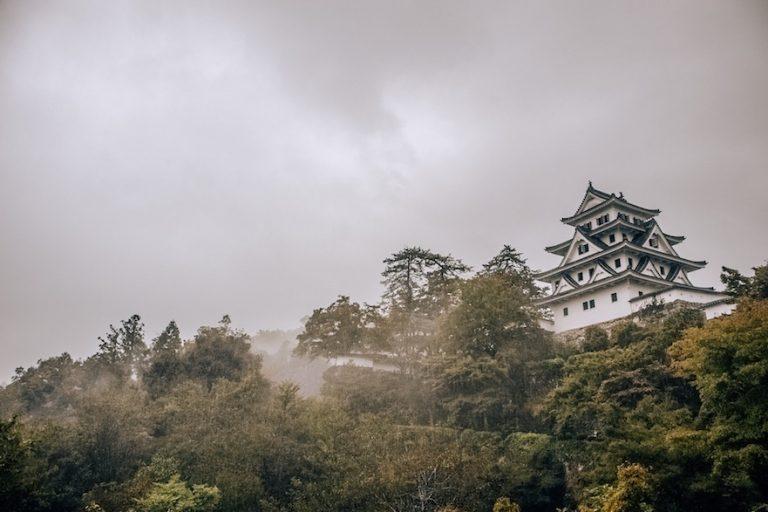 Gujo castle in fog