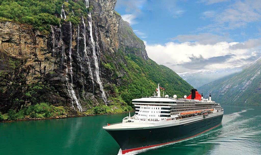 cunard cruise shop beside waterfall