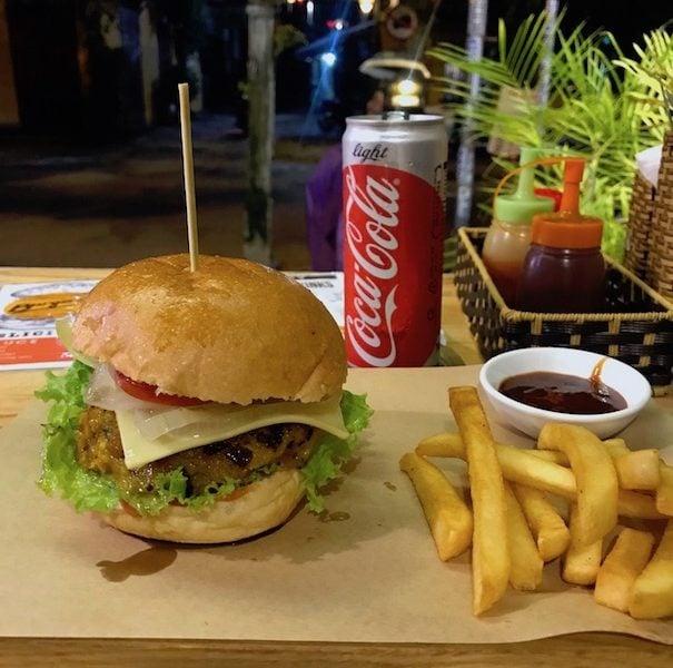 The veggie burger at Burgers Plus hoi an