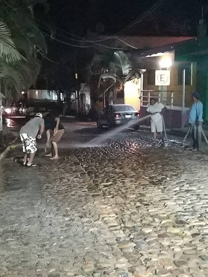 Sayulita Cleans Street with Chlorinated water