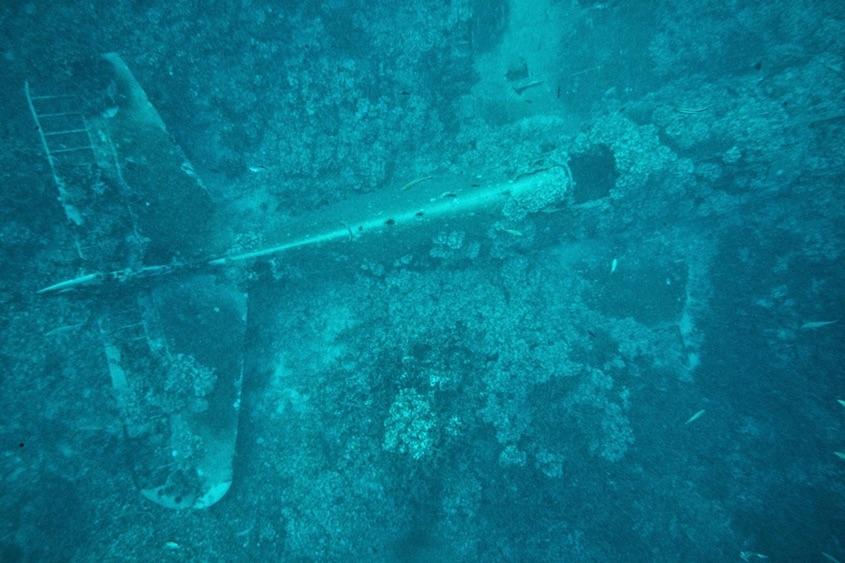Underwater plane wreck in the solomon islands