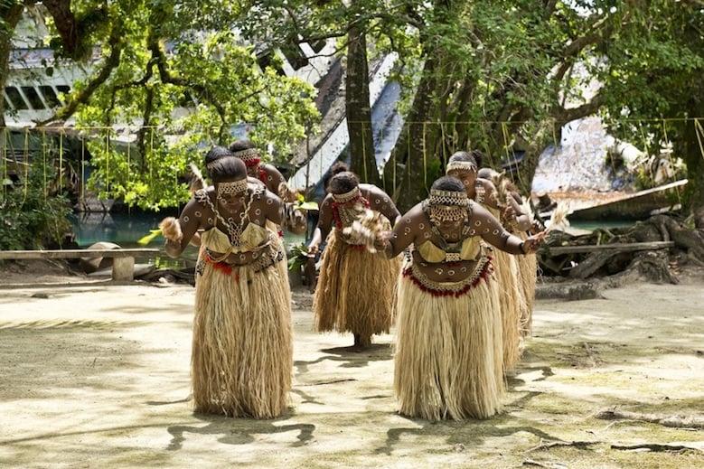 Tribe of women dancing in the Solomon Islands