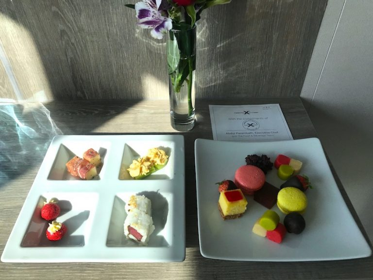 daily canapes as a perk for booking aqua class on Celebrity cruises