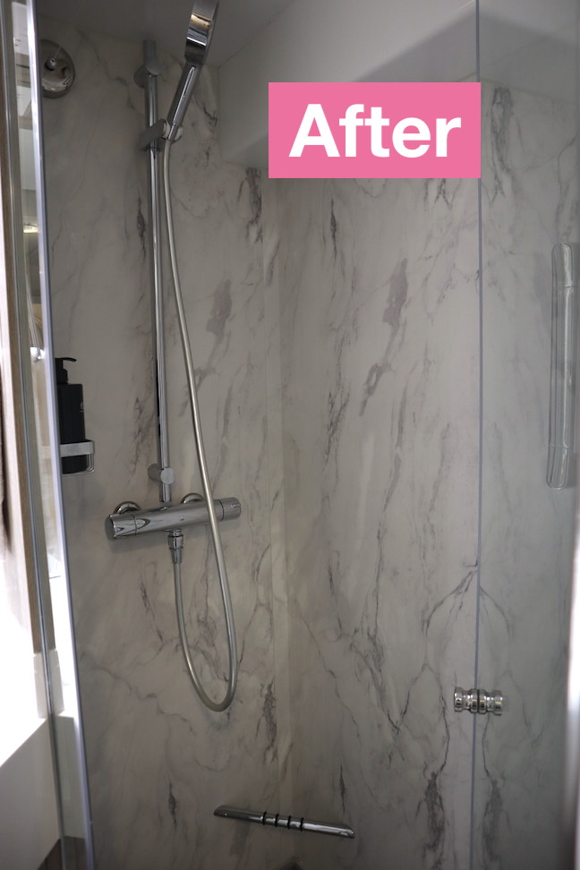 new renovated shower in stateroom celebrity millennium