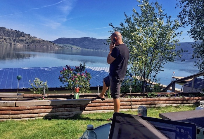 Lake front RV set up