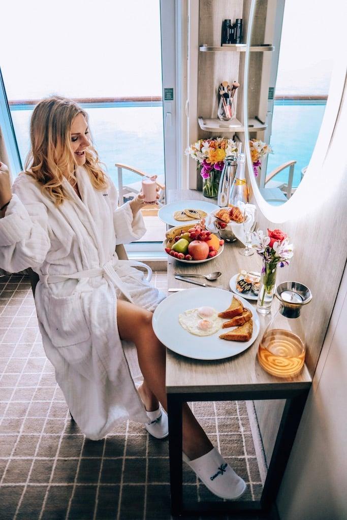 Millennium Renovation on Celebrity - girl in robe room service