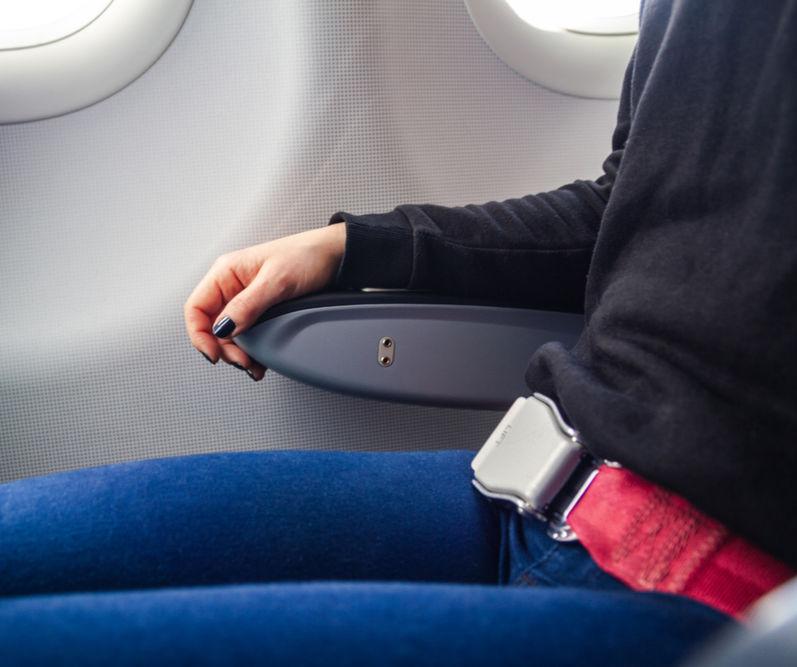 Seatbelt Fastened on Plane