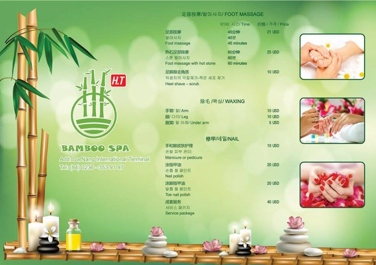 Bamboo Spa Menu at Da Nang Airport - international terminal