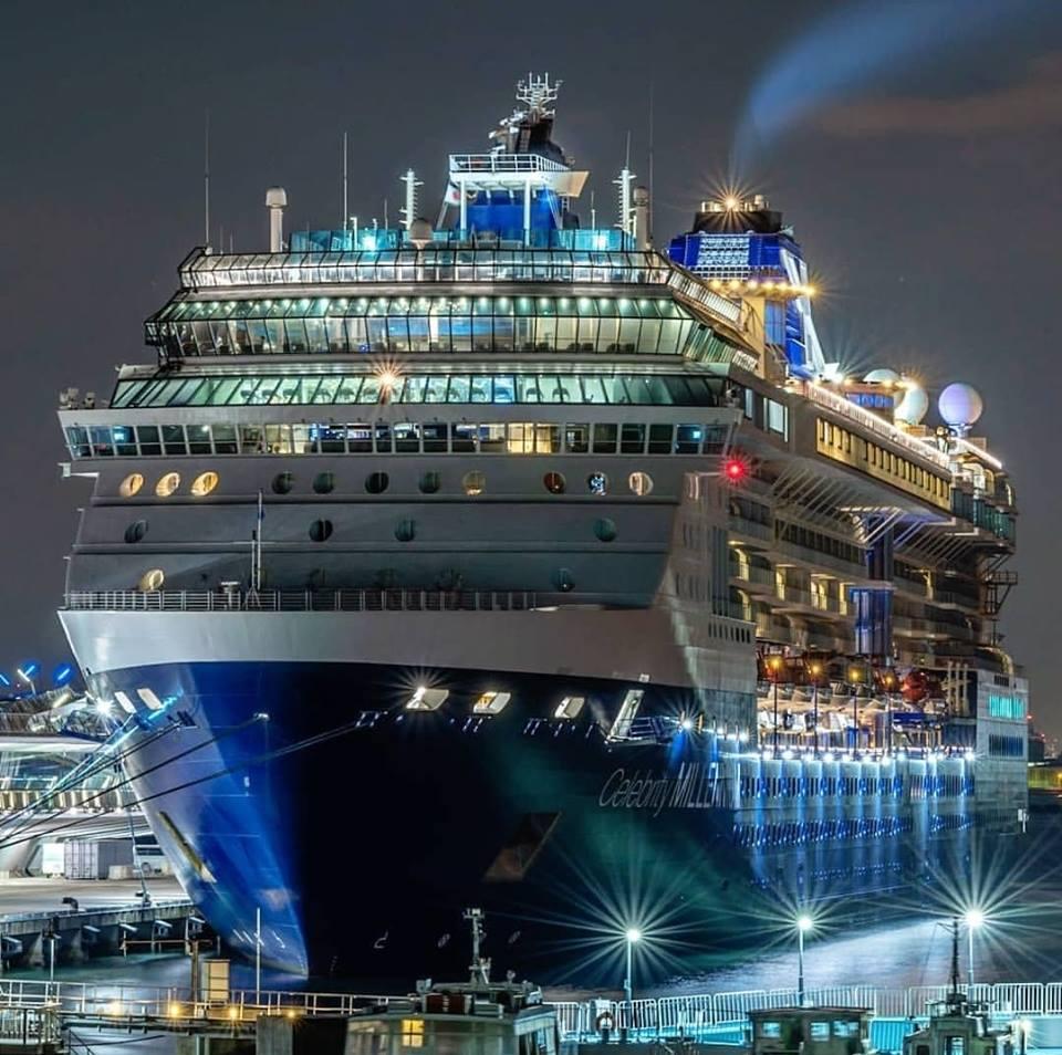 Celebrity Millennium in port at night