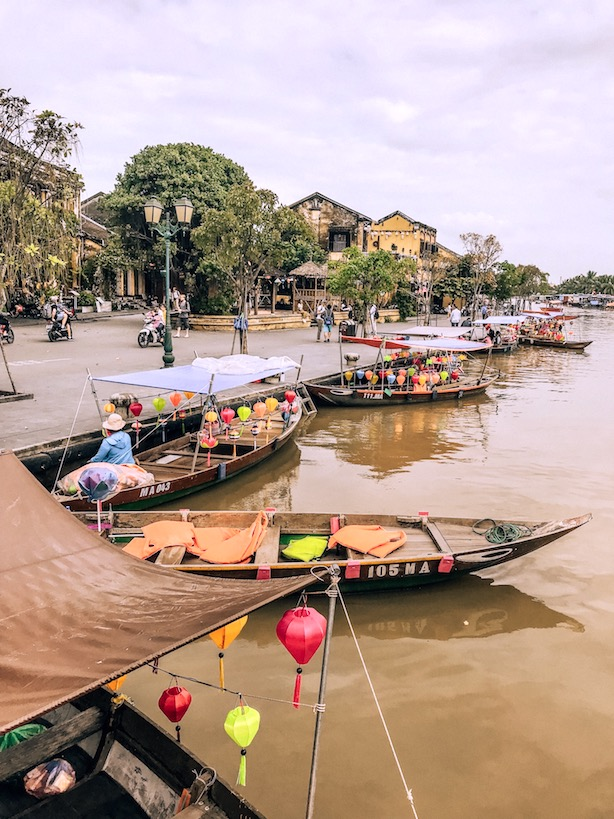 Boats on the river in ancient town