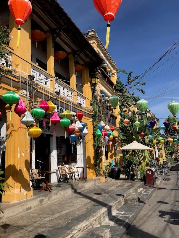 Lantern streets and yellow houses Vietnam
