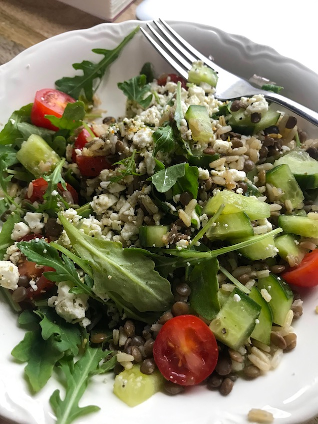 Greek lentil bowls - easy travel trailer meal ideas