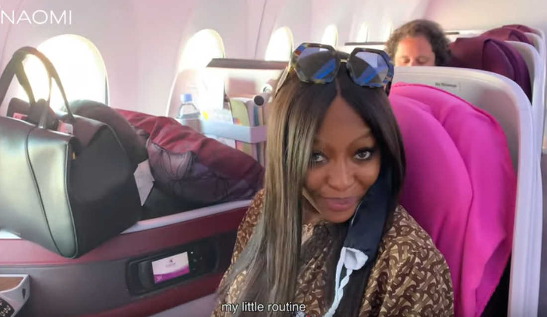 Naomi Campbell Flight Routine