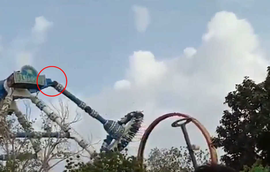 Terrifying Moment RIDE Snaps in Half Killing Two and Injuring Dozens in India
