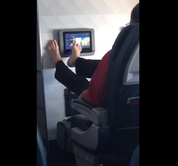 Viral video man using feet