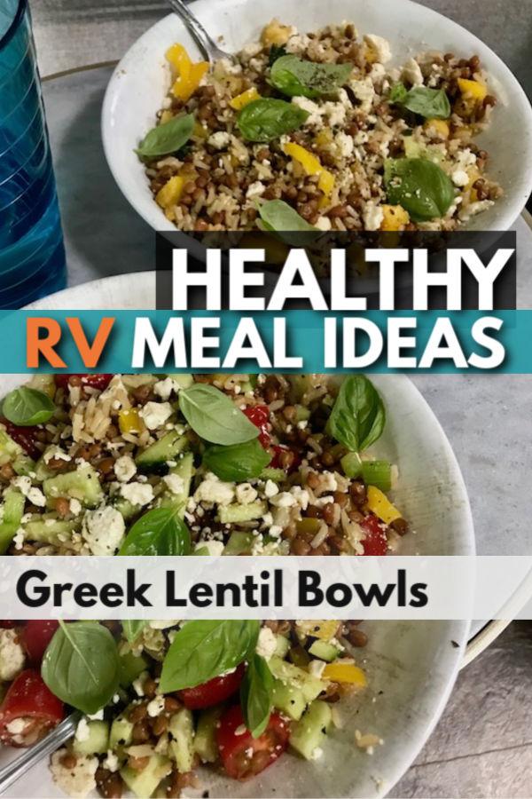 Healthy RV Meal ideas- greek lentil bowls