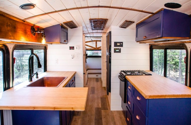 bus converted into off the grid tiny home