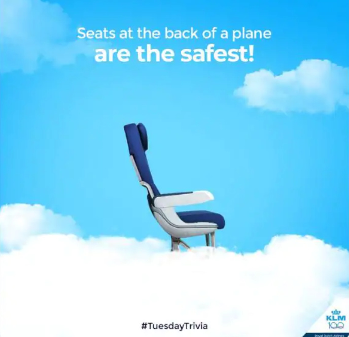 seats at back of plane are safest