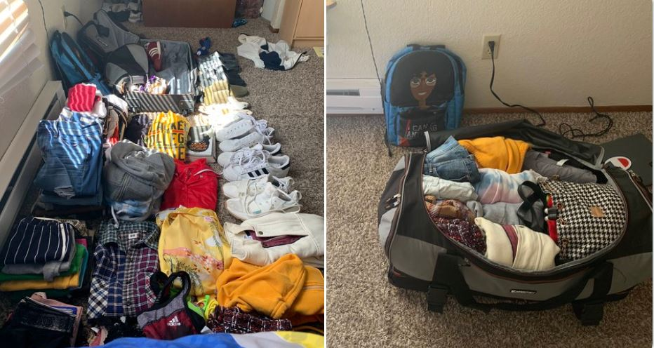 Woman Packs one bag with 50 items and 9 pairs of shoes