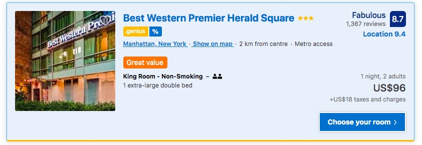 Hotels in NYC for under $100