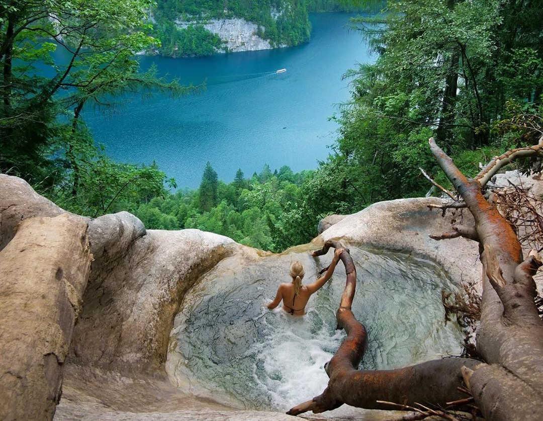 Natural Pool Königsbach Waterfall in Germany