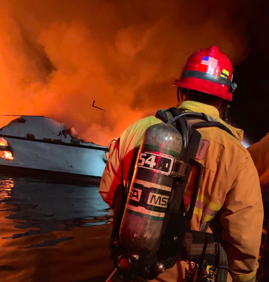 fighting the fire boat