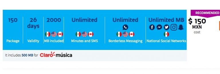 150 package with Telcel Mexico