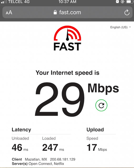 Speed test on Telcel Mexico