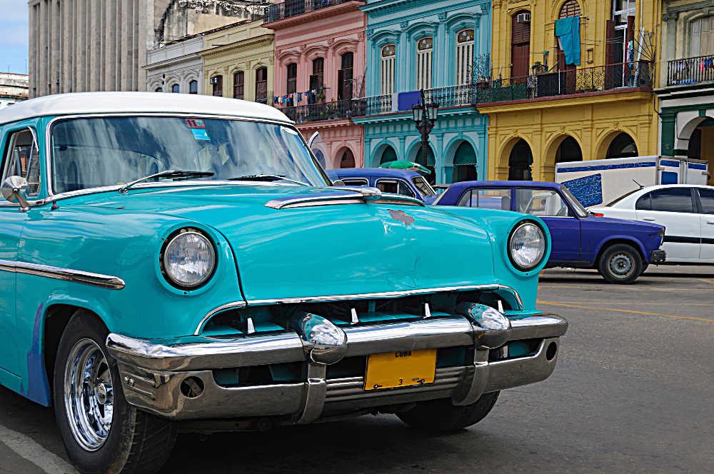 cuba city with old car