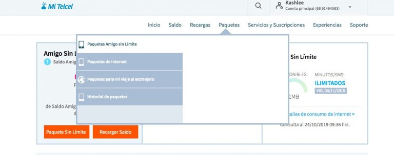 Pre-paid phone packages on Telcel
