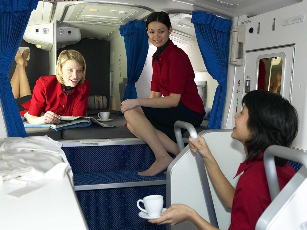 The Secret Airplane Bedrooms For Flight Attendants on Long Haul Flights