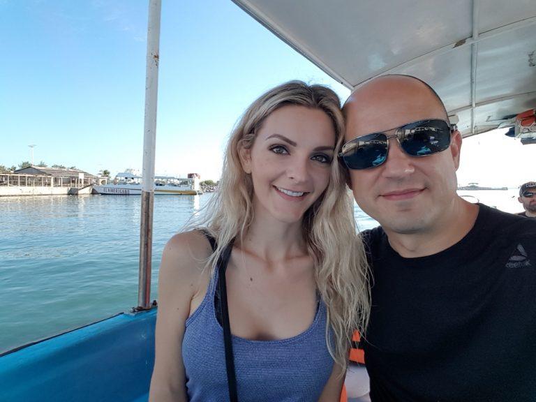 Kashlee and Trevor on boat tour in Mazatlan