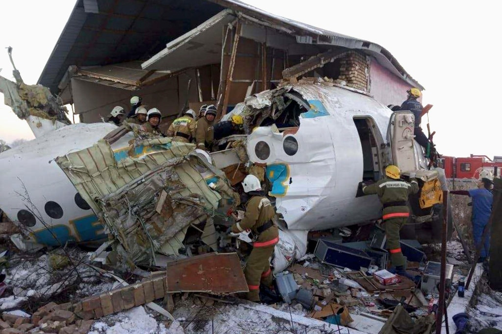 A plane crashed shortly after takeoff in Kazakhstan early Friday, killing at least 12 and sending 54 to hospitals