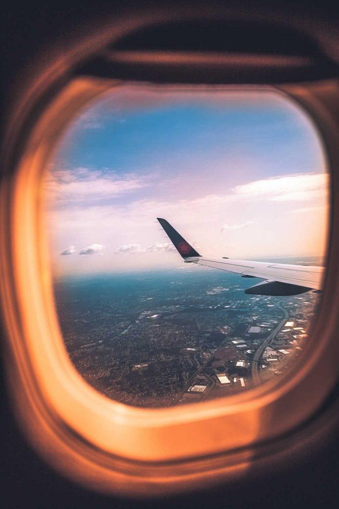air canada plane window view