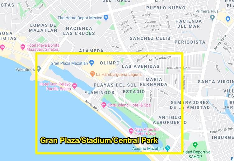 Gran Plaza and Central Park area of mazatlan