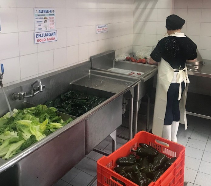 washing veggies at playa mazatlan hotel