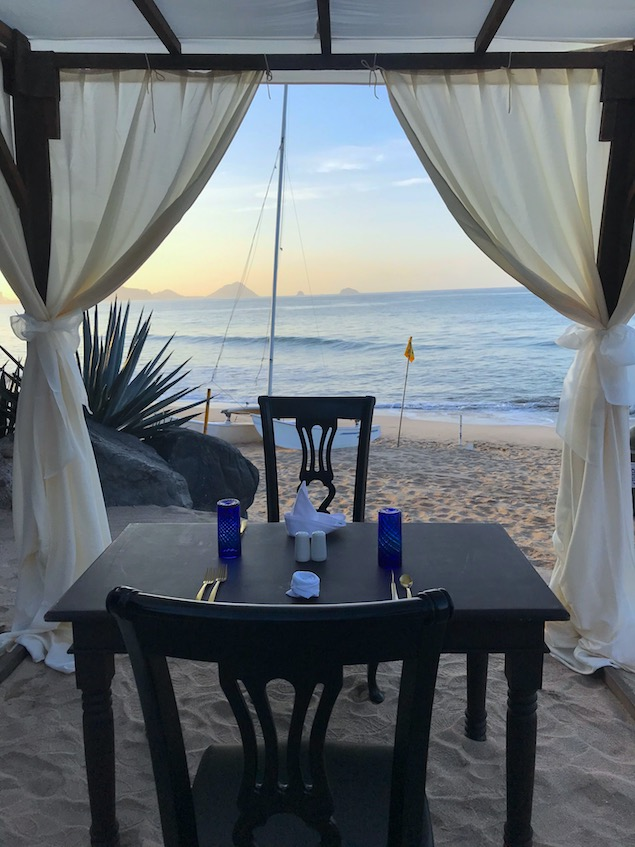 private beach gazebo breakfast