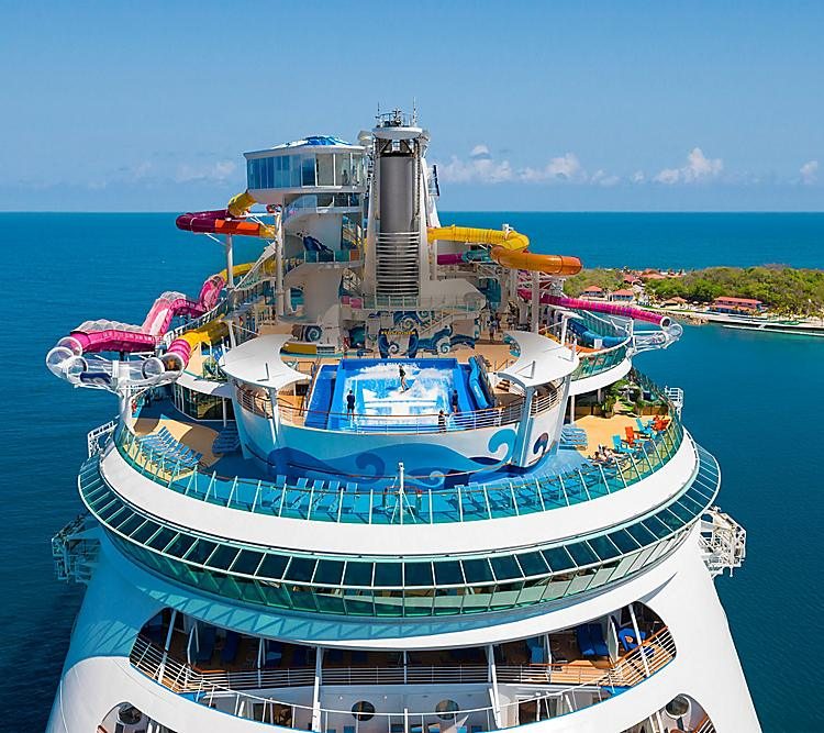 royal caribbean ship with waterslides