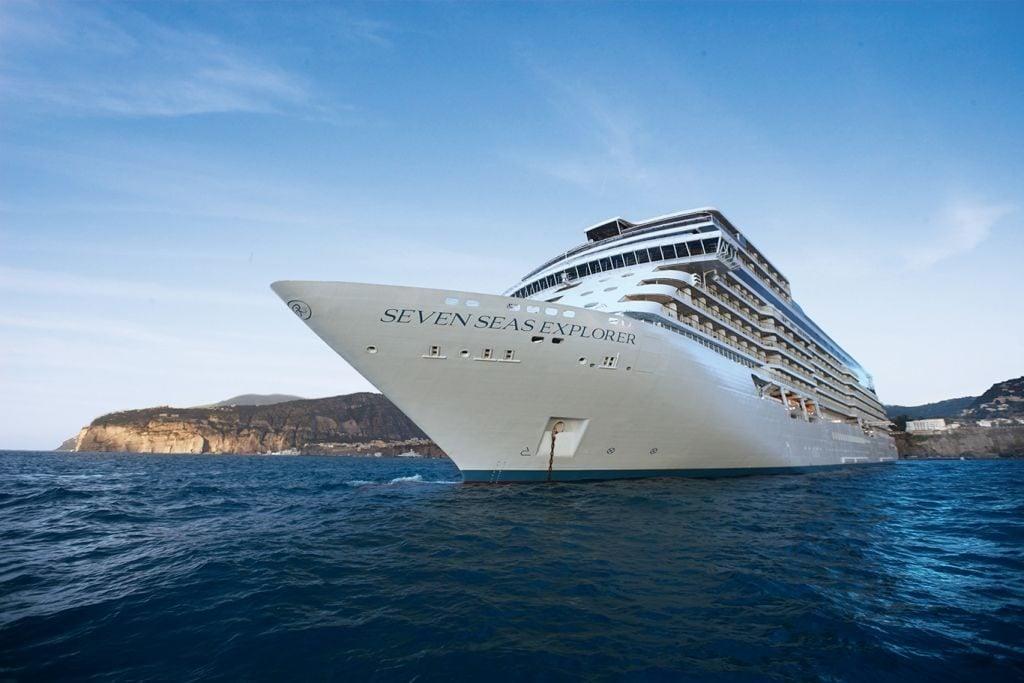 regent seven seas cruise ship in blue ocean