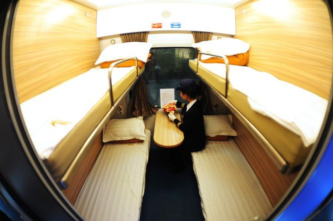 Private cabin and upper and lower berth in sleeper train in vietnam