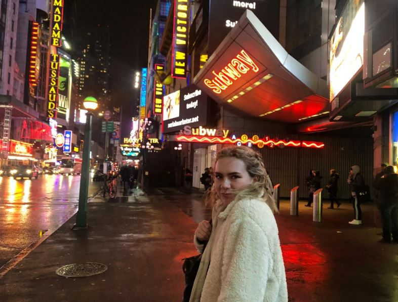 Rebecca, pictured in New York, has been banned from the United States for five years Credit: TRIANGLE NEWS