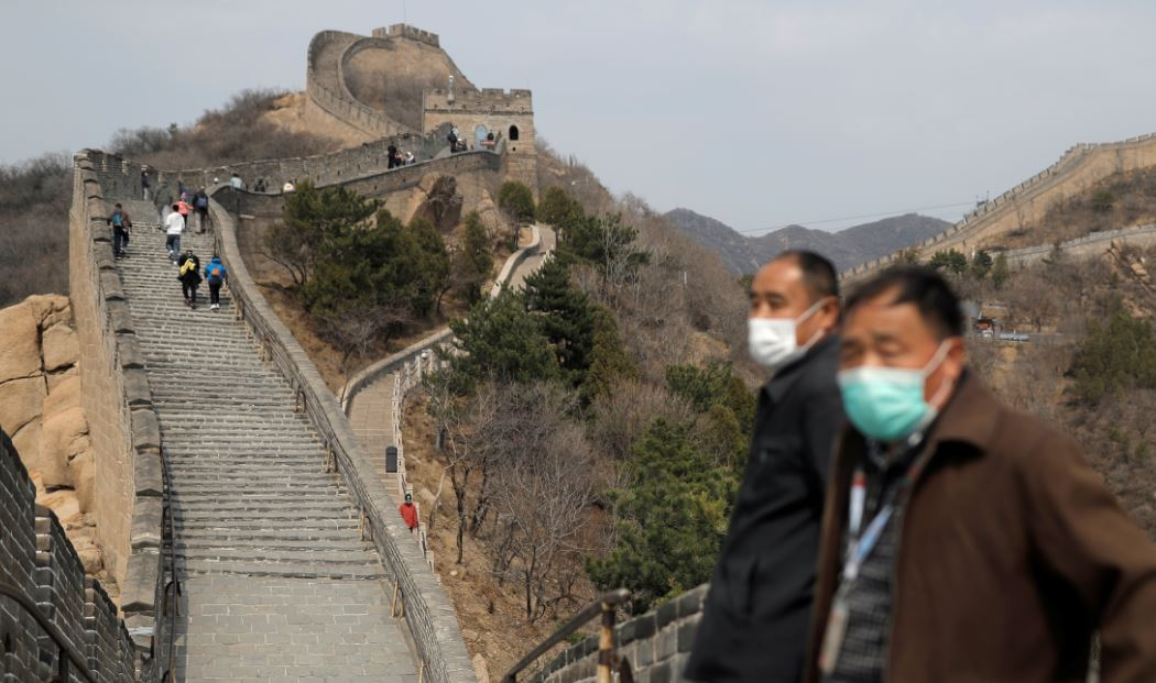tourists at great wall