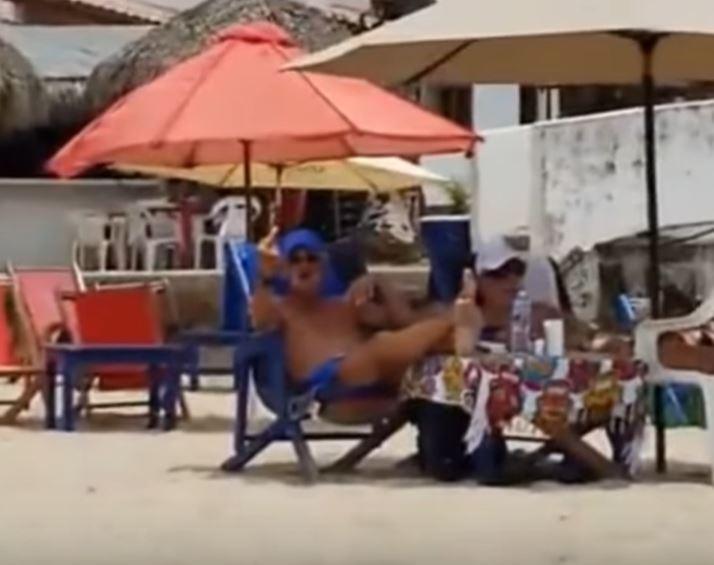 Man at ebach against quarantine Puerto vallarta